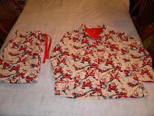 Men's Women's Size XL Nick & Nora Christmas Flannel Pajamas Santa Skiing Holiday