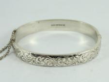 Vintage Floral Hinged Bangle Sterling Silver Ladies Bracelet 925 15.1g Gd18