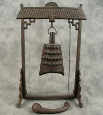 BUDDHIST Cast Iron TEMPLE BELL with STAND AND STRIKER ~ Great for Zen Garden ~