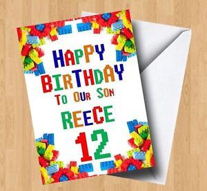 Personalised Lego/Building Blocks Inspired (Son/Grandson/Daughter) Birthday Card