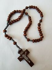 BROWN WOOD & KNOTTED CORD ROSARY CATHOLIC