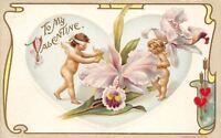 Valentine~Blindfolded Cupid Seeks Girl~Giant Orchid~Emboss Art Nouveau~H Wessler
