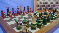Schachspiel Erzgebirge Setzkasten Schachfiguren Holz Chees Schachbrett OVP