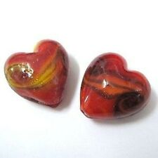 4 pieces Lampwork Heart Glass Beads - 20mm - Red - A4029