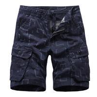 Men's Cargo Shorts Loose Short Pants Pocket Casual Trousers Cropped Pants Prints