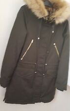 ZARA Bottle Green Faux Fur Jacket /Coat/Parka With HOOD Leopard Trim BNWT SIZE S