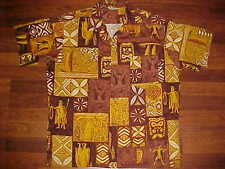 Made in Hawaii Brown Tiki Samoan Men Island Primitive Hawaiian Cotton Camp Shirt