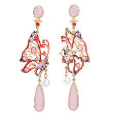 Boucles d`Oreilles Long Chandelier Dentelle Papillon Email Rouge Rose Perle XX19