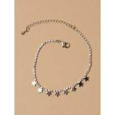 Silver Diamante chain anklet with silver star extension UK SELLER