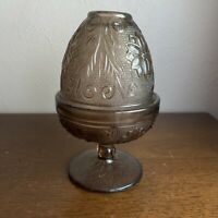 Tiara Indiana Glass Fairy Lamp Votive Candle Holder Brown Taupe Glass