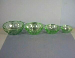 Four Miniature Stacking Mixing Bowls, Green Depression Glass, Maker Unknown