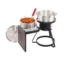 OUTDOOR FRYER SET Gas Stove Propane Stand w/ Pot Basket Fish Fries Chicken Wings
