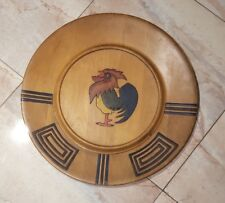 """Vintage Primitive Country Rustic Wood Decorative Rooster Plate 26.5"""" Round"""