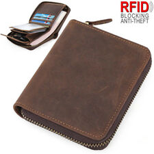 RFID Vintage Men's Leather Wallet Zip Around Credit Card Holder Small Coin Purse