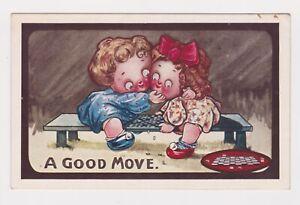 KUTE KIDDIES SERIES POSTCARD 1912 ENGLISH CHECKERS CHILDREN HUMEROUS