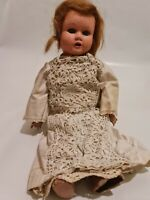 Vintage Composite Doll With Wooden Limbs in White Lace Dress