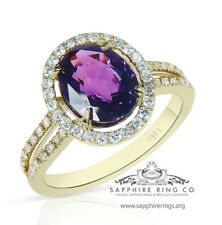 GIA Certified 14KT Y/Gold 2.91 tcw Purple Oval Natural Sapphire & Diamond Ring