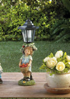 country girl outdoor statue lantern white LED path SOLAR powered light lamp