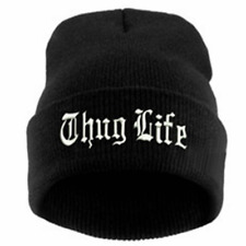 Thug Life Knit Black Beanie Hat Cap Embroidered Cuffed 2Pac Video Compilation