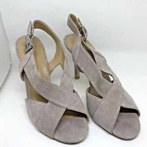 Michael Kors  Women's  Sandals Taupe  Becky Suede Heel 4.5 Inches, Size 9M