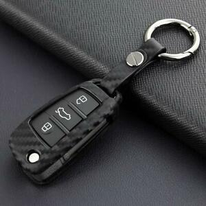 For Audi A1 A3 S3 Q3 Q7 TT Carbon Fiber Car Key Fob Chain Cover Case Holder