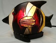 Tiffany Style Stained Glass Fish Accent Table Lamp Night Light Nautical Metal