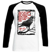 THE RAVEN EDGAR ALLAN POE - NEW BLACK SLEEVED BASEBALL COTTON TSHIRT