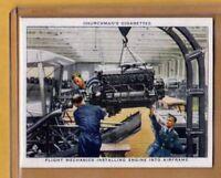 1937 Churchman The RAF At Work #20 Installing Engine into Airframe, Near Mint+