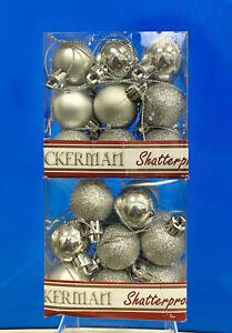 Vickerman 4-Finish Ornament Set, Includes 34 Per Box, 1-Inch, Silver
