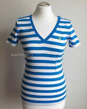 Gestreifte Damenblusen,-Tops & -Shirts mit V-Ausschnitt und Baumwolle für Freizeit