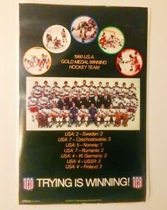 "1980 US Olympic Hockey ""Trying is Winning"" Poster"