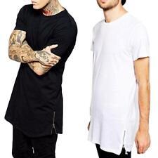 Extra Lang Herren Freizeit Kurzarm RundhalsT-shirt Zipper Tops Loose Hiphop Hemd