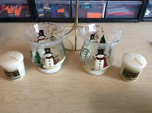 New Yankee Candle Snowman Crackle Winter Votive Holder Light Christmas Mistletoe
