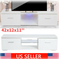 Modern High Gloss White 43'' TV Cabinet Stand LED Light 2 Drawers Console Table