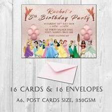 16 Personalised Princess Birthday Party Invitations Invites,  Kids girls invites