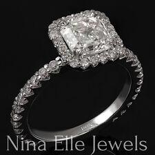 ASSCHER CUT DIAMOND ENGAGEMENT RING LOW SET SEMI ETERNITY PAVE 14K  A26
