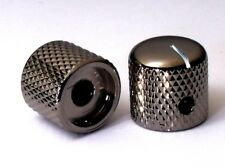 QUALITY STEEL GUITAR KNOBS BLACK NICKEL CHROME Screw Fixing Tone or Volume Knobs