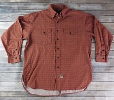 Ralph Lauren Double R RRL Button Front Shirt Sz L Red Orange Plaid Long Sleeve