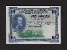 F.C. 100 PESETAS 1925 , SERIE B , MBC+ , SELLO SECO ARRIBA ESPAÑA .