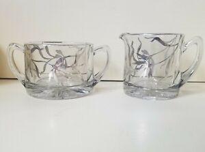 Vintage Art Nouveau Silver Overlay Floral Glass Sugar and Creamer Set