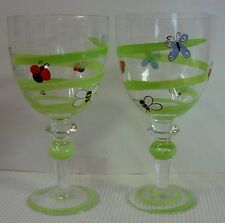 "Clay Art Crystal BUMBLES Water Goblets (8"") SOLD IN PAIRS More Items Available"