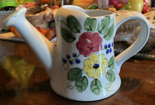 "Ftd 6"" Decorative Floral Watering Sprinkle Can Hand Painted Italy Small Chip"