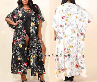 Plus Size Boho Floral Long Kimono Cardigan Duster Maxi Tunic Top