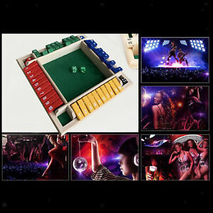 4 Sided Shut the Box Game Wooden Board Number Drinking Dice Toy for KTV Party