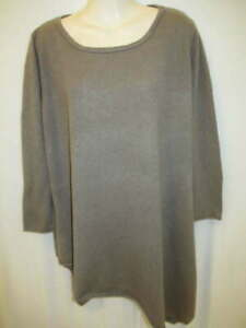 Chelsea & Theodore 100% Cashmere Brown Handkerchief 3/4 sleeve Sweater M