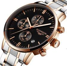 Guanqin reloj hombre clásico acero plateado y rosa multifunción cronómetro día