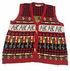 Vintage Teacher The Eagles Eye Ugly Christmas Sweater Vest Size L 22x26