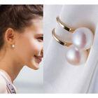 Women Gold Plated Silver Freshwater Pearl Ear Stud Earrings Jewellery Elegant