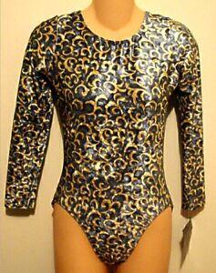 GK Elite Leotard Long Sleeved Gymnastic Blue Velvet Off White Swirl Size AL