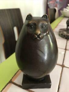 """Statuette sculpture bronze """"Gros Chat"""" signée Milo  Botero """"Fat Cat"""""""